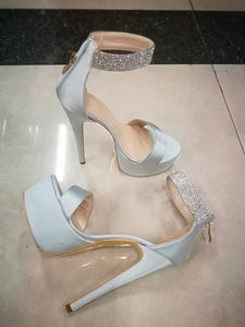 Elegant Satin Platform High Heel open Toe Pumps with Crystals ankle strap