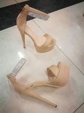 Load image into Gallery viewer, Elegant Satin Platform High Heel open Toe Pumps with Crystals ankle strap