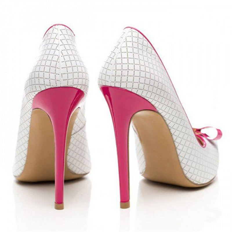 Elegant bowtie Pointed Toe Slip On Pumps High Heels