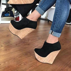 Black 16cm wedge - Thj Fashion Boutique