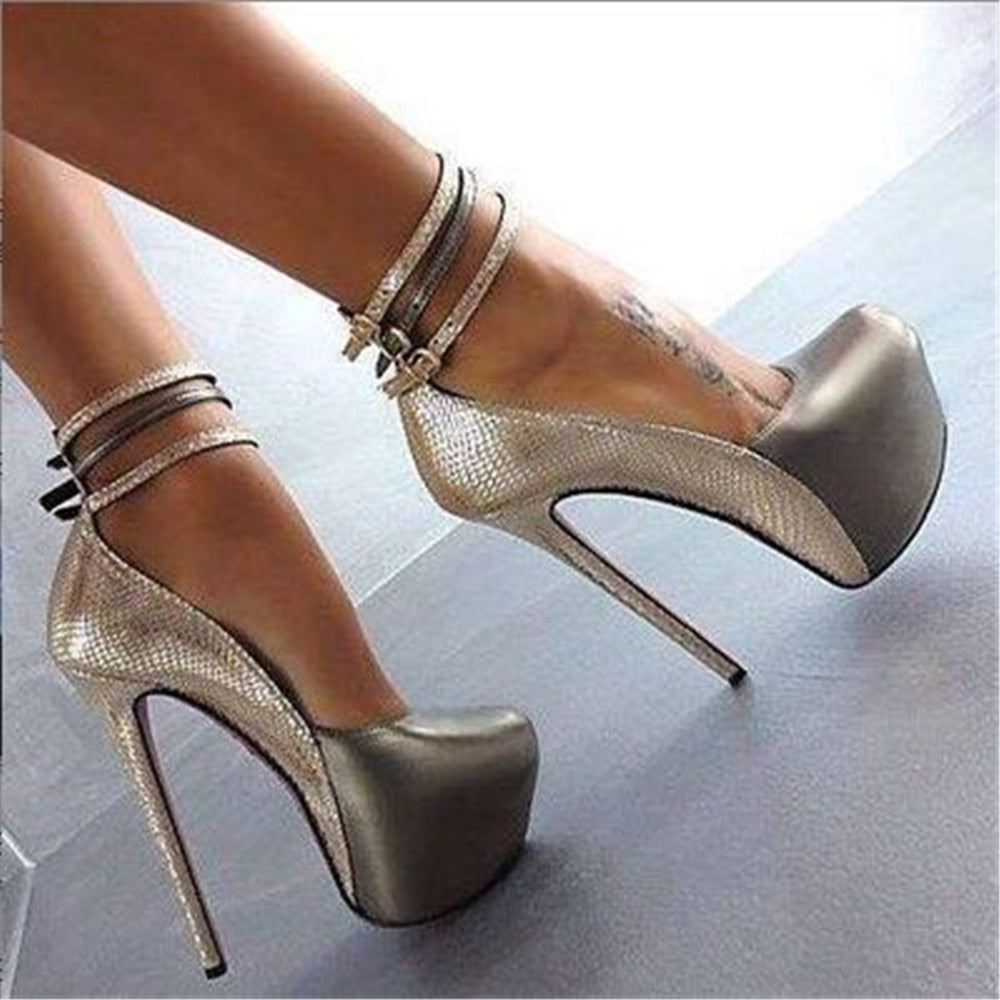 Embossed Leather High heels, ankle strap round toe pumps.