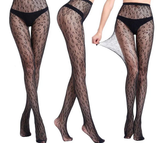 Leopard Out Pantyhose Fishnet Stockings Mesh Tight Black High Waist Pantyhose - Thj Fashion Boutique