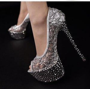 Elegant Women Ultra High Heels Peep Toe Lace Ladies Cut-out Platforms Ladies Stiletto