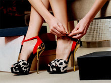 Load image into Gallery viewer, Leopard sueded leather peep toe stiletto  pumps elegant red ankle buckle strap