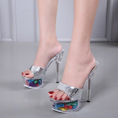 Floral High heel Crystal Shoes