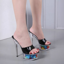 Load image into Gallery viewer, Floral High heel Crystal Shoes