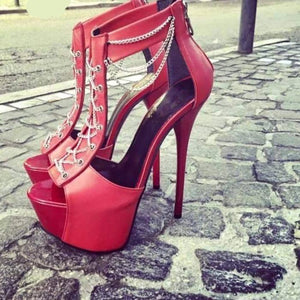 High red open toe ankle chain high heels