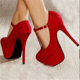 Red suede, buckle, waterproof high-heeled shoes, large size available