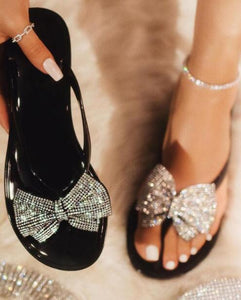 New pinch bow rhinestone  slippers  (size run smaller than normal )