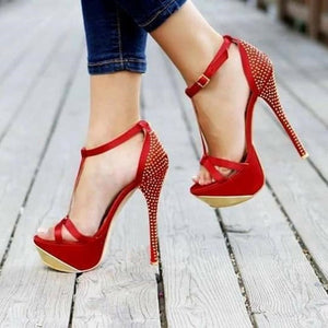 Women's high-heeled sandals, 16cm red  rhinestones Heels