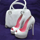White serpentine fabric, 12.5cm high heels, open-toed high heels