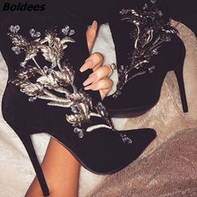 Load image into Gallery viewer, Glamorous Black Suede Pointy Classy Silvery Embroidered Flowers Stiletto Ankle Boots