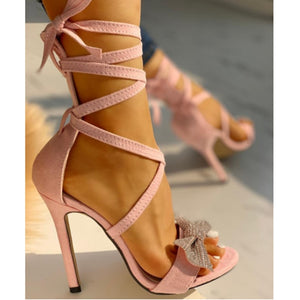Glitter Bow Cross Straps Stilettos  Open Toe Lace-Up Sexy Heeled Sandals