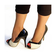 Load image into Gallery viewer, Black and White Peep Toe Stiletto Heels  (Plus Size)