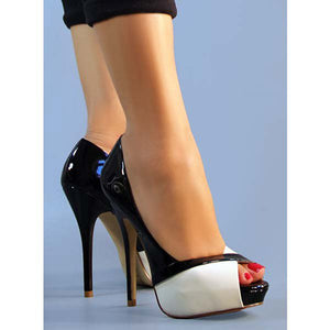 Black and White Peep Toe Stiletto Heels  (Plus Size)