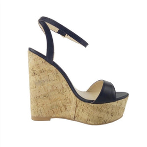 Beautiful  leather fabric, 15 cm wedges - Thj Fashion Boutique