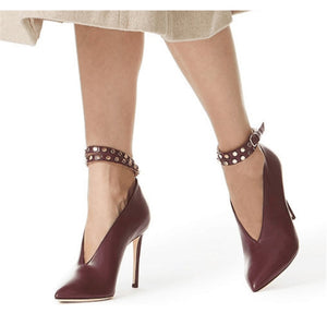 Genuine Leather Ankle V- Strap Leather stiletto Heels - Thj Fashion Boutique