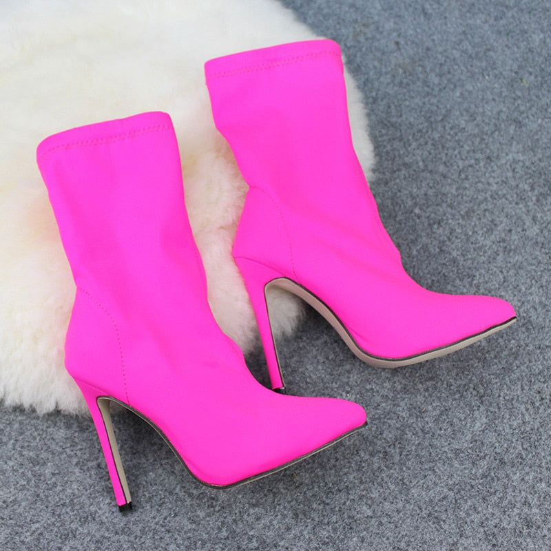 Pointed Toe Stilettos High Heel Shoes Woman Boots - Thj Fashion Boutique