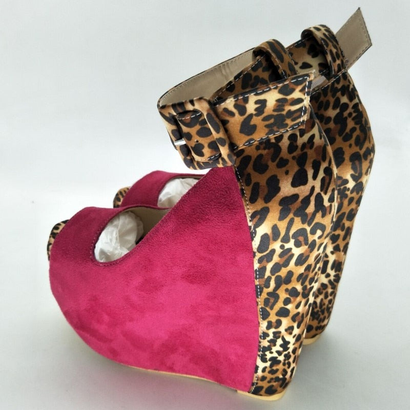 beautiful sexy post free red stitching leopard print suede, ankle strap, 14.5 cm wedge heel shoes. - Thj Fashion Boutique