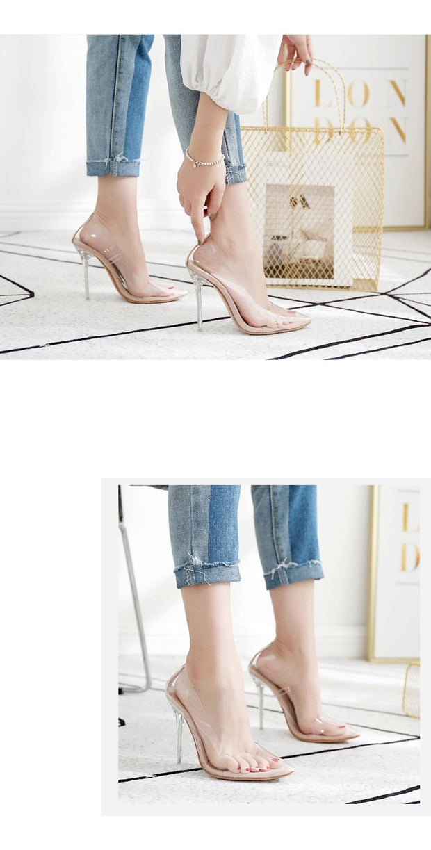 Clear PVC Transparentl Stilettos High Heels Point Toes - Thj Fashion Boutique