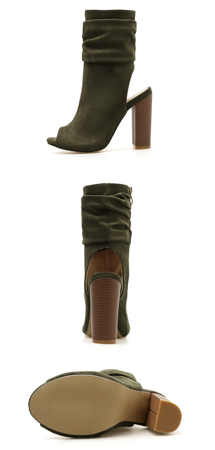 Open Toe High Heels  Boots Peep Toe with Zipper - Thj Fashion Boutique
