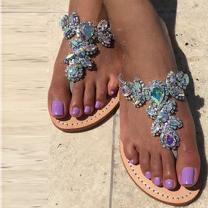 Woman Rhinestones Chains Thong Flat Sandals - Thj Fashion Boutique
