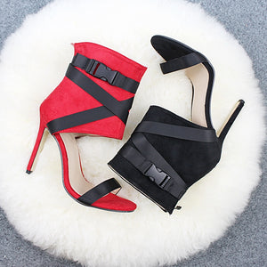 Fabric belt Peep-toe Color Collision Patchwork Stilettos High Heels - Thj Fashion Boutique