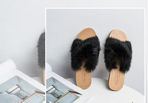 Women's Soft Rabbit Fur Slippers Plush high quality - Thj Fashion Boutique