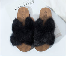 Load image into Gallery viewer, Fur Slides Shoes Woman Fluffy Cross Slippers - Thj Fashion Boutique
