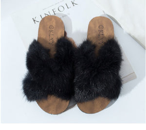Fur Slides Shoes Woman Fluffy Cross Slippers - Thj Fashion Boutique