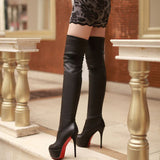 Over Knee Thigh High Boots Warm Fur Platform Elastic Boots