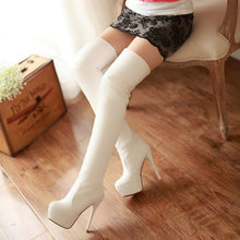 Load image into Gallery viewer, Over Knee Thigh High Boots Warm Fur Platform Elastic Boots