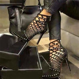 Rivet Studded Cut Out Caged Ankle Boots Stiletto - Thj Fashion Boutique