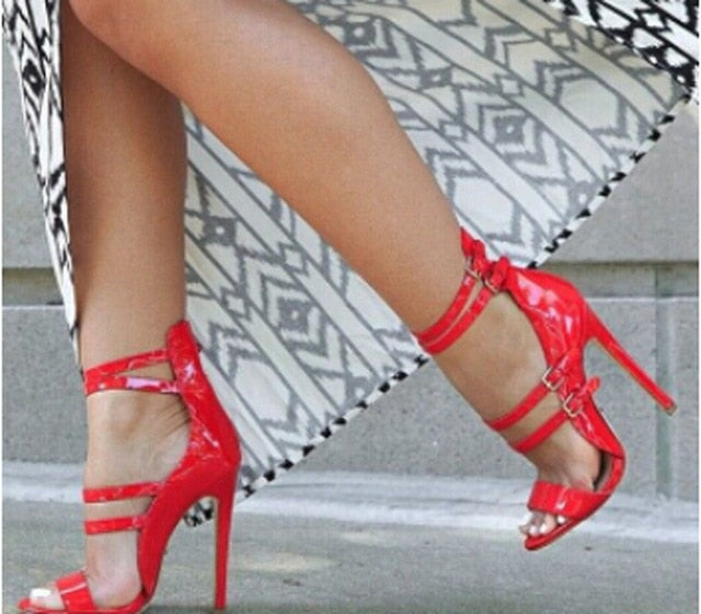 High Quality Women Fashion  Patent Leather Cut-out Ankle Strap High Heel Sandals