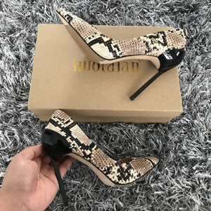 High Quality women pumps Snake Printed high heel pumps  pointed toe high heels