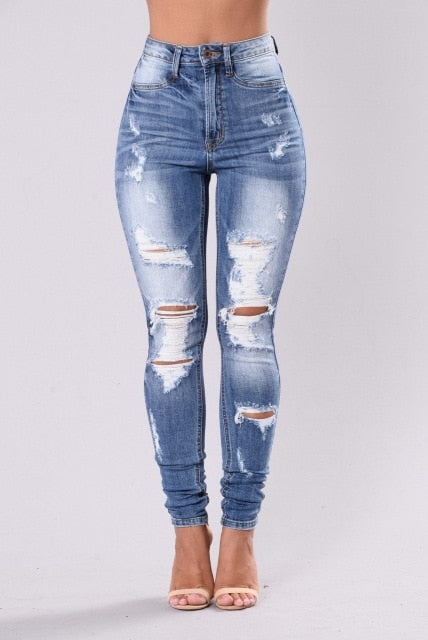 High Waist Slim Ripped Denim Stretch Skinny Jeans
