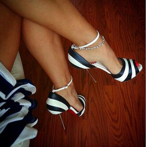 High Quality White Black streak Peep Toe Women Pumps Metal Thin High Heels Sexy Women Ankle Strap - Thj Fashion Boutique