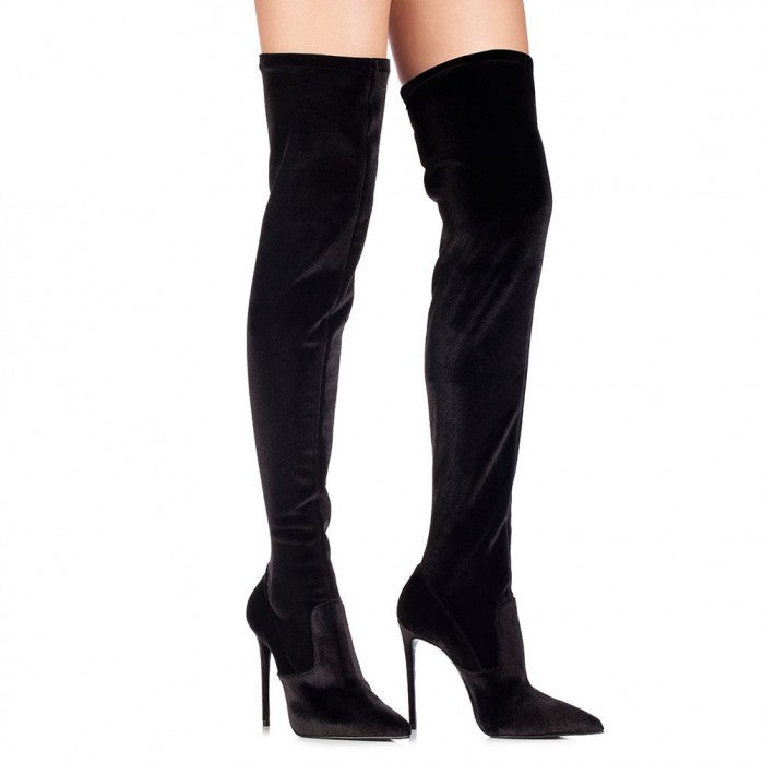 Stretch over the knee boot in Velvet sexy pointed toe thigh high boots thin heels long boots