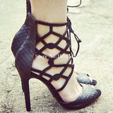 Fashion Black Ankle Boots Lace Up Sexy Thin High Heel Peep Toe - Thj Fashion Boutique