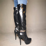 Smooth Leather Black Knee High Boots Gold Chain Sexy  Platform Boots