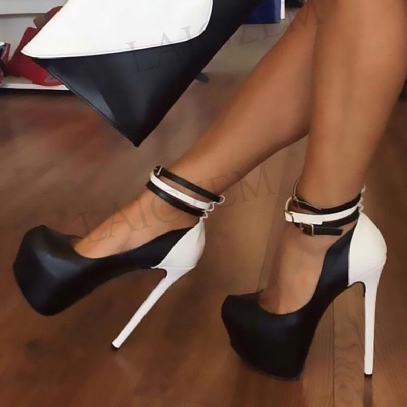 Custom Made Black and White Women Platform Heels Buckles Ankle Straps