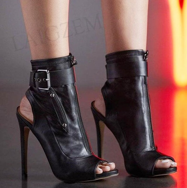 Women White Short Zipper Heel Ankle Boots - Thj Fashion Boutique