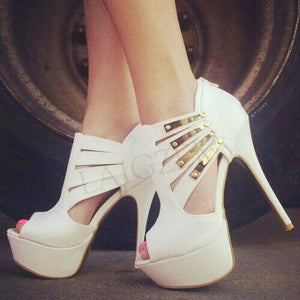 White  Platform Stiletto Back ZIP