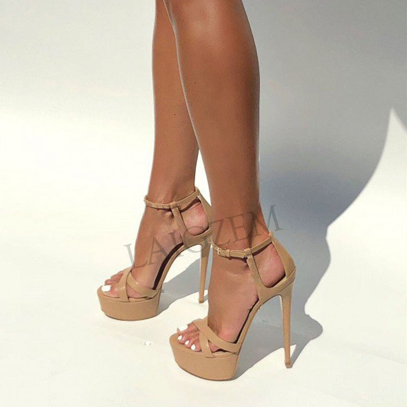 Women Sandals Strappy Stiletto High Heels Platform Pumps