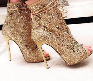 Ankle Strap Sandals Sexy Peep Toe Crystal Lace-Up Thin Heels - Thj Fashion Boutique