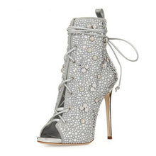 Load image into Gallery viewer, Ankle Strap Sandals Sexy Peep Toe Crystal Lace-Up Thin Heels - Thj Fashion Boutique