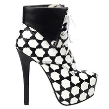 Load image into Gallery viewer, Black Beige Polka Dot Lace Up Stiletto Ankle Boot - Thj Fashion Boutique