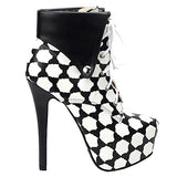 Black Beige Polka Dot Lace Up Stiletto Ankle Boot - Thj Fashion Boutique