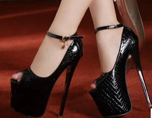 Load image into Gallery viewer, Ultra high thin heels single open toe platform Ankle Strap  pumps