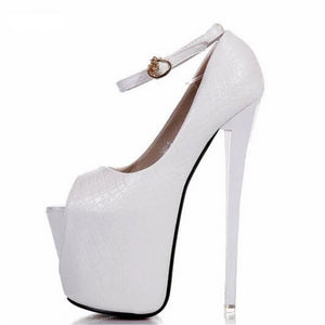 Ultra high thin heels single open toe platform Ankle Strap  pumps